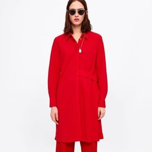 ZARA Red Silky Button Up Shirt Dress